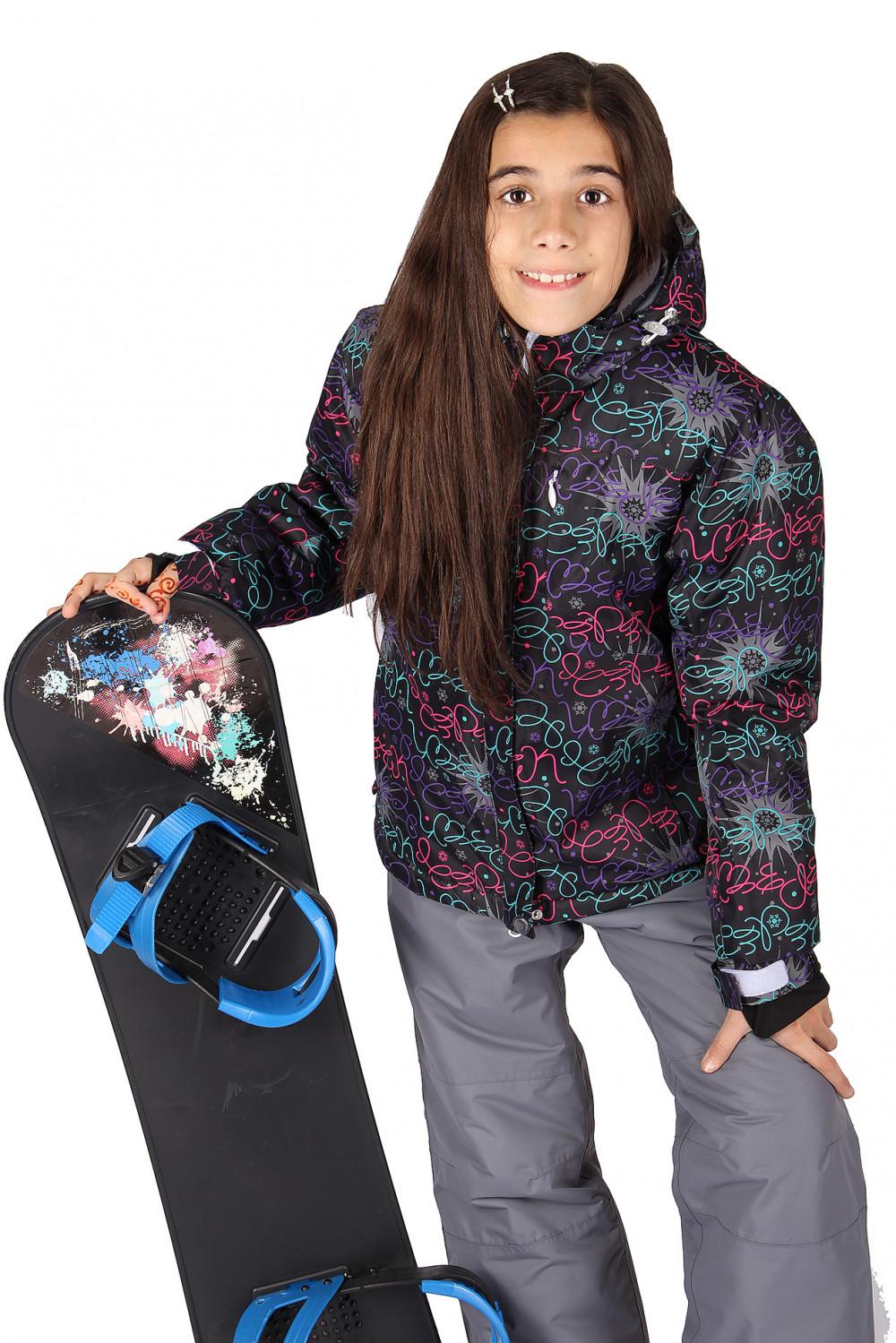 Купить                                  оптом Куртка горнолыжная подростковая для девочки черного цвета 549-1Ch