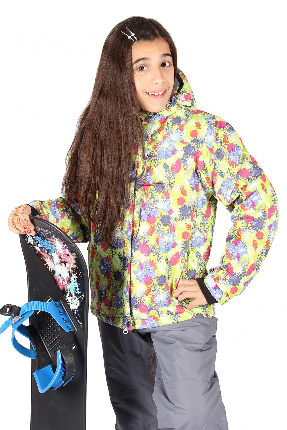 Купить                                  оптом Куртка горнолыжная подростковая для девочки желтого цвета 549-1J в Санкт-Петербурге