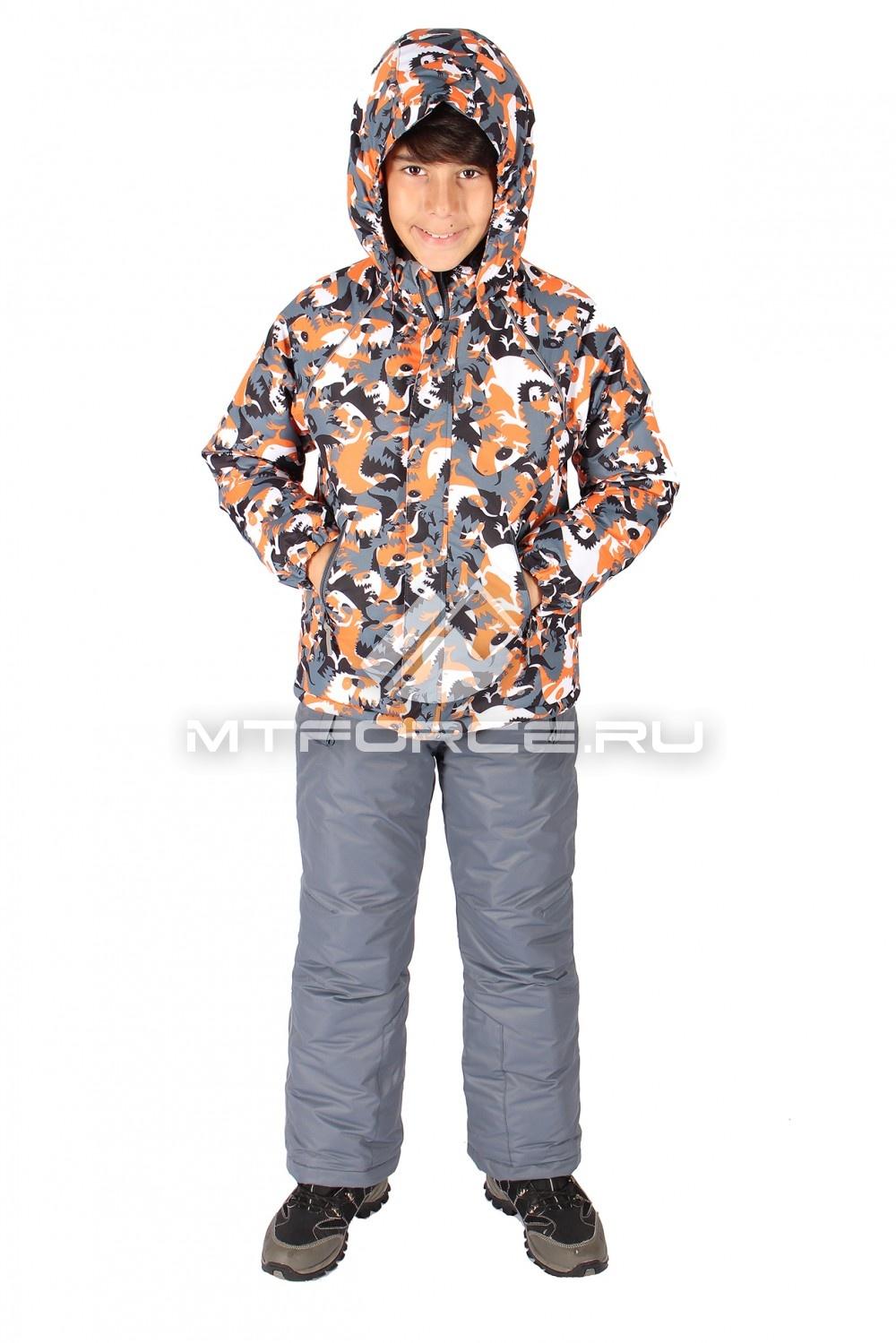 Купить оптом Костюм горнолыжный  для мальчика оранжевого цвета 6103O