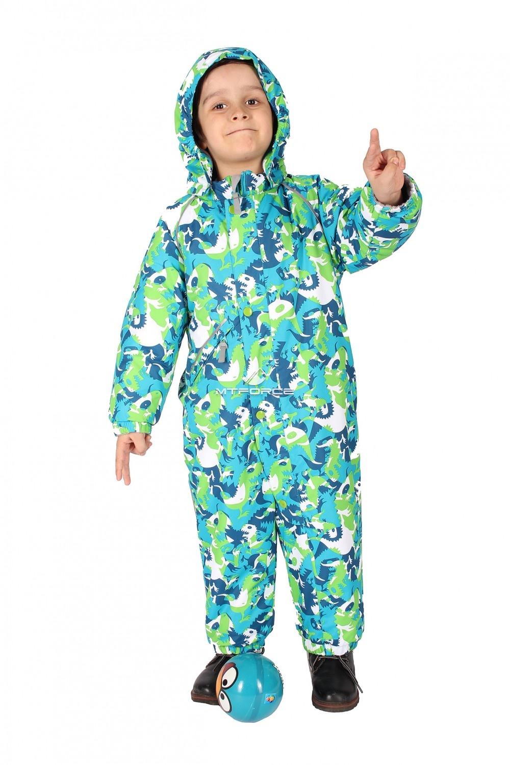 Купить оптом Комбинезон горнолыжный детский зеленого цвета 6104Z в Новосибирске