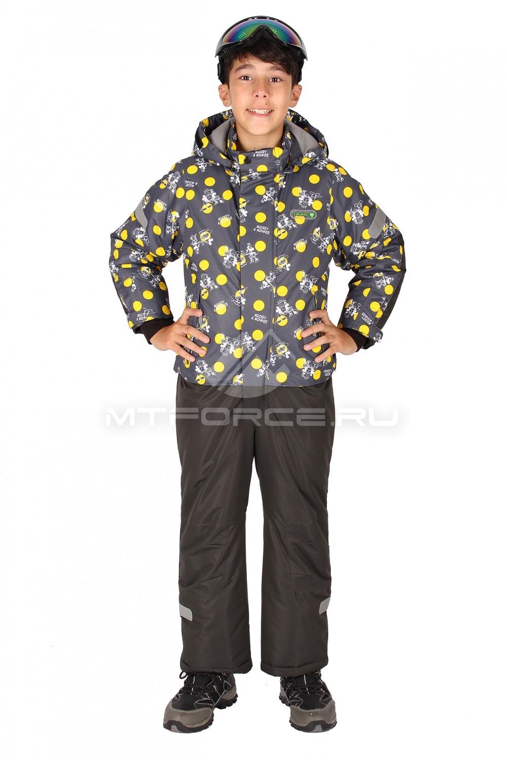 Купить оптом Комбинезон горнолыжный  для мальчика темно-серого  цвета 6108TC