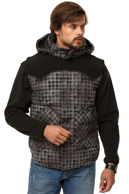 Купить оптом Жилетка мужская утепленная серого цвета 666Sr в Екатеринбурге