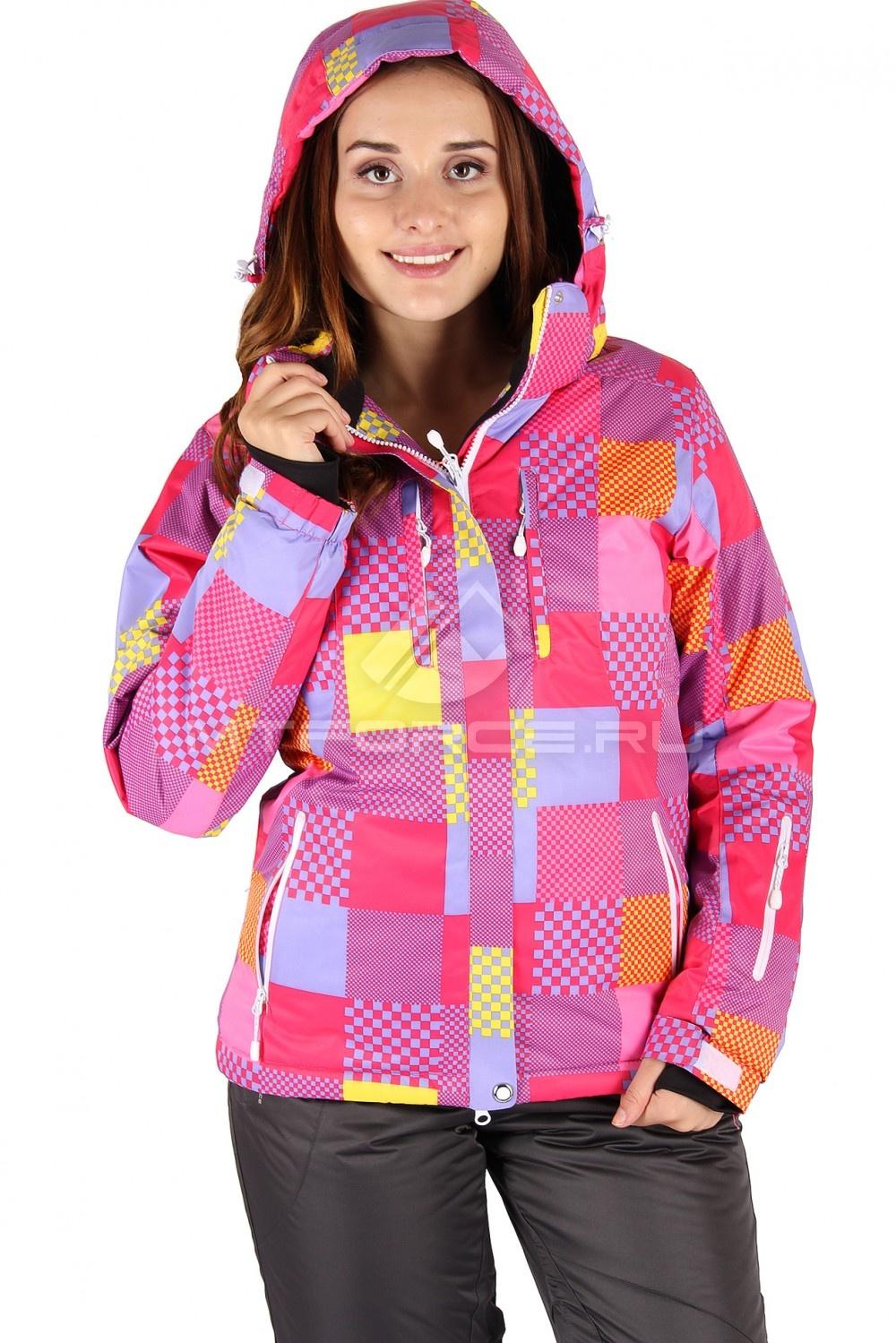 Купить  оптом Куртка горнолыжная женская розового цвета 68R в Санкт-Петербурге