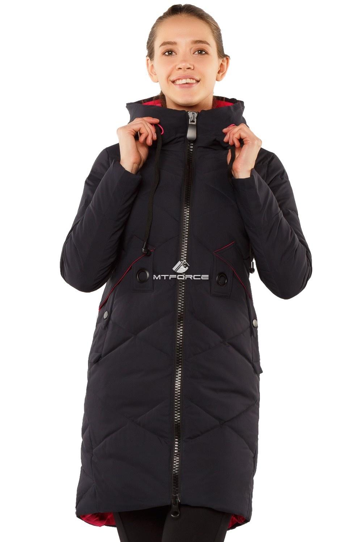 Купить  оптом Куртка женская зимняя молодежная темно-синего цвета 7167TS