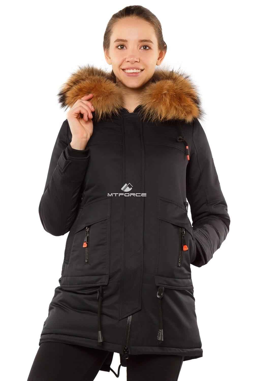 Купить  оптом Куртка парка с натуральным мехом енот темно-синего цвета 7170TS