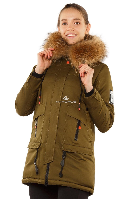 Купить оптом Куртка парка с натуральным мехом енот цвета хаки 7170Kh