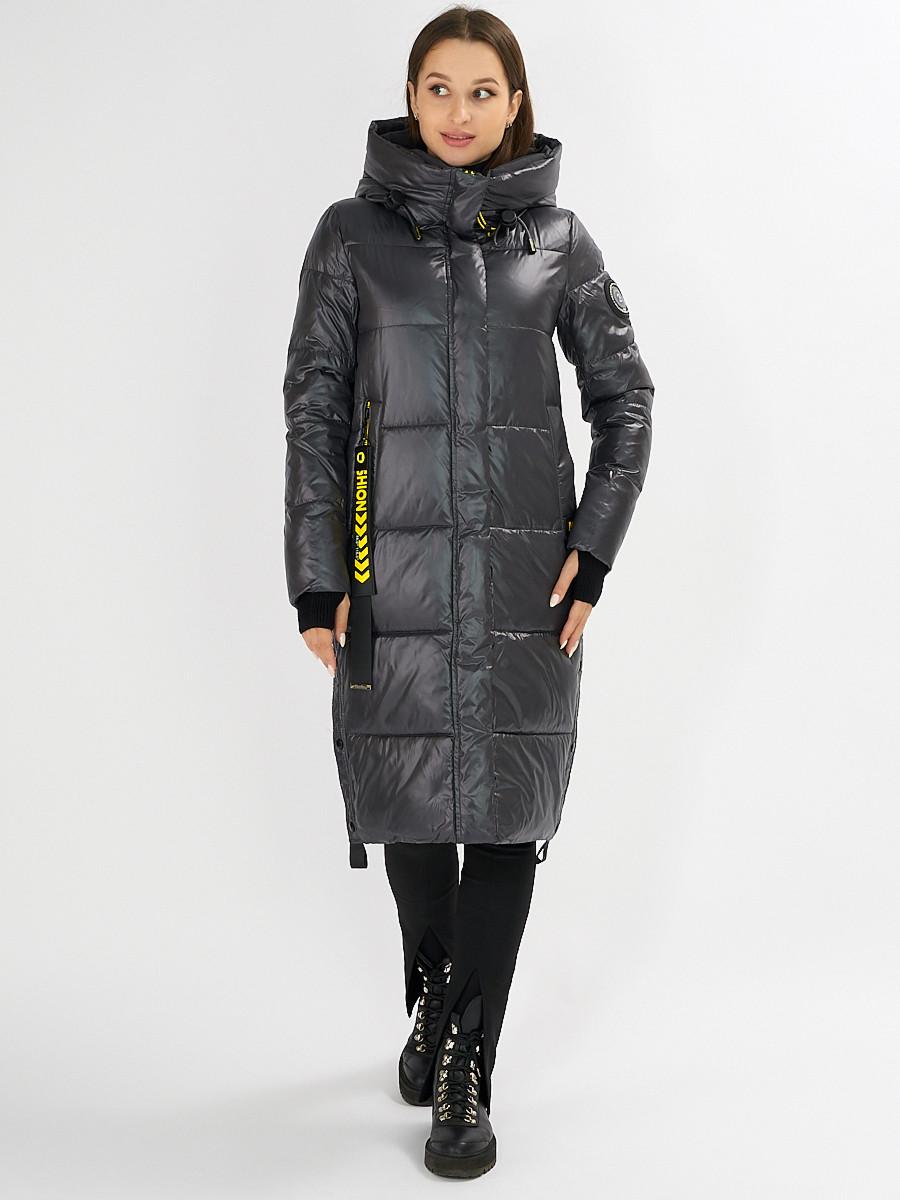Купить оптом Куртка зимняя темно-серого цвета 72101TC в Екатеринбурге