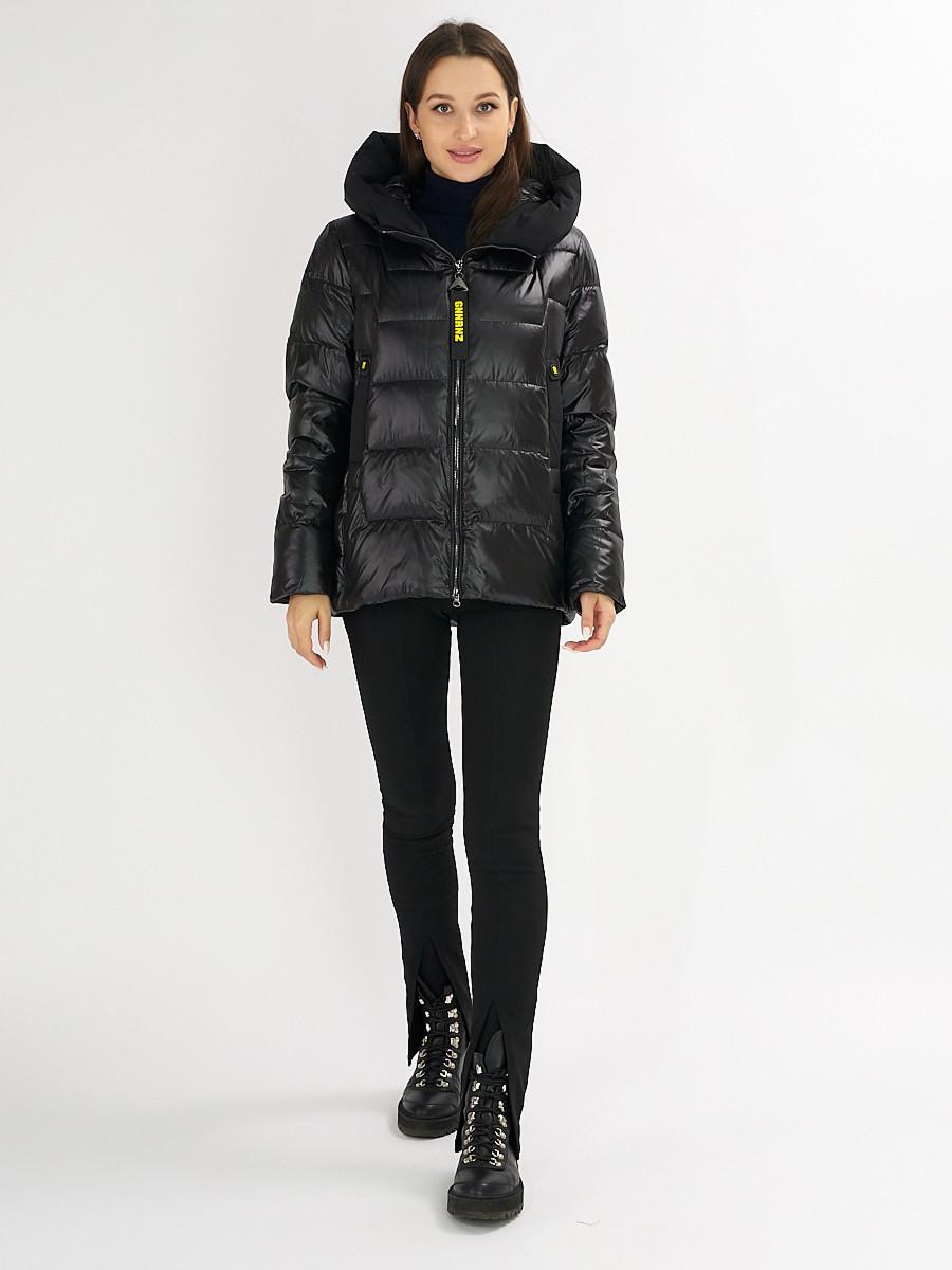 Купить оптом Куртка зимняя big size черного цвета 72117Ch в Екатеринбурге