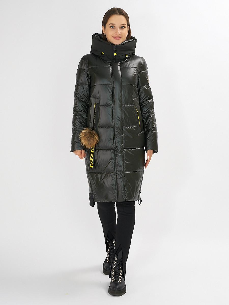 Купить оптом Куртка зимняя темно-зеленого цвета 72168TZ в Екатеринбурге