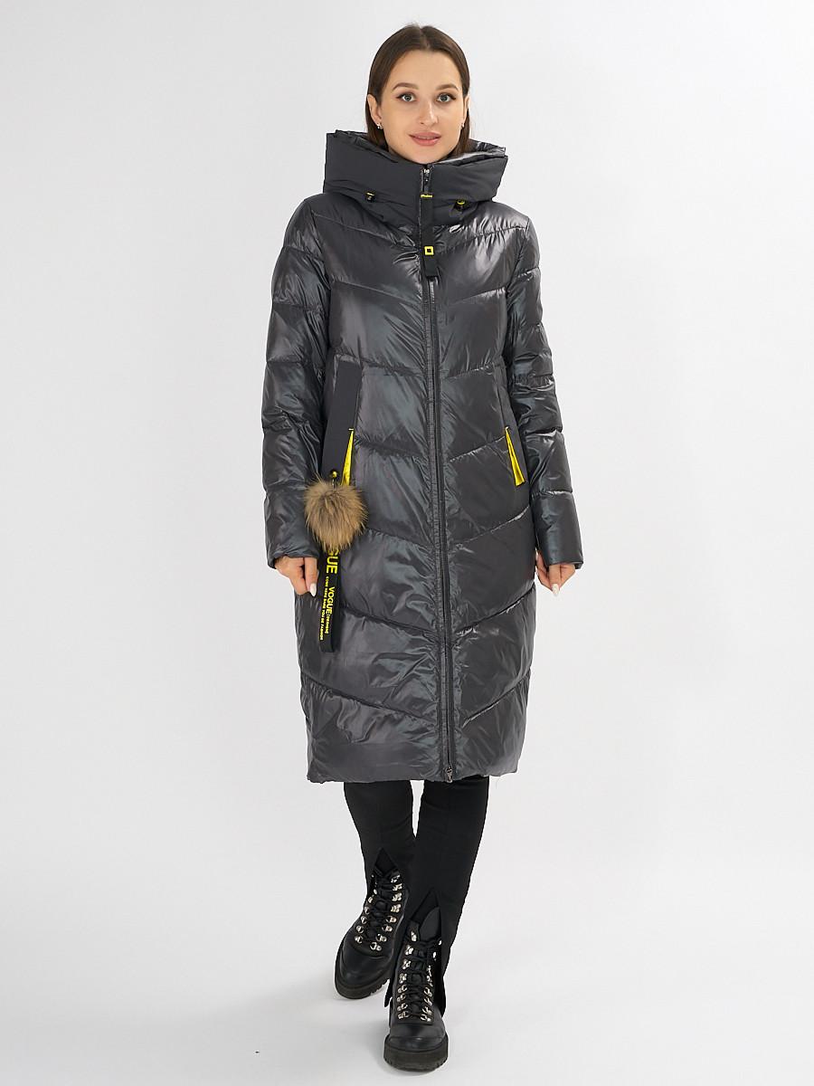 Купить оптом Куртка зимняя темно-серого цвета 72169TC в Екатеринбурге