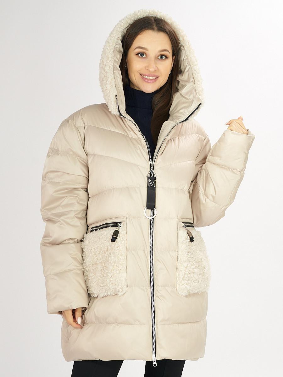 Купить оптом Куртка зимняя big size бежевого цвета 72180B в Екатеринбурге