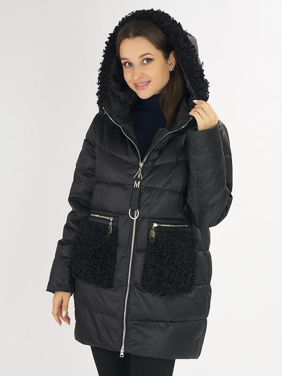 Купить оптом Куртка зимняя big size черного цвета 72180Ch в Екатеринбурге