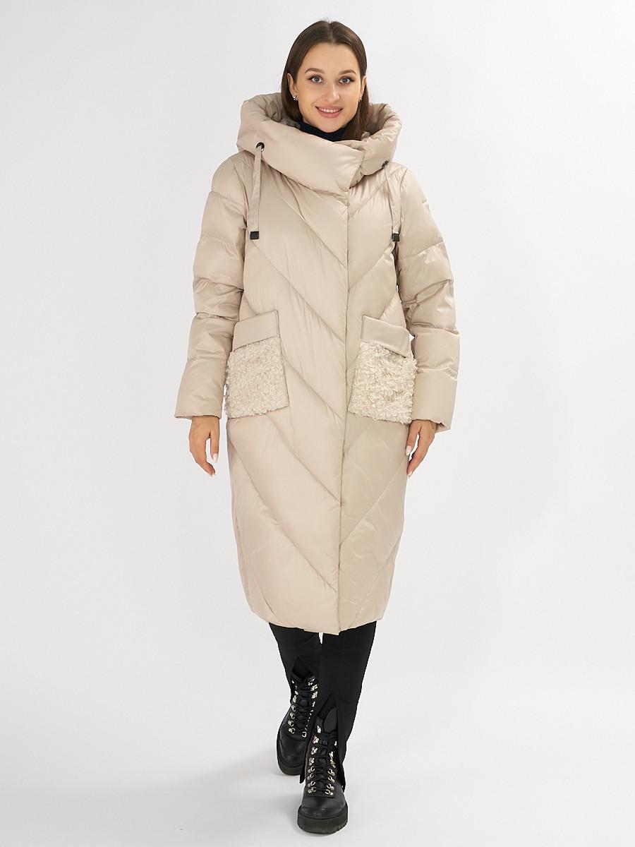 Купить оптом Куртка зимняя бежевого цвета 72185B в Екатеринбурге