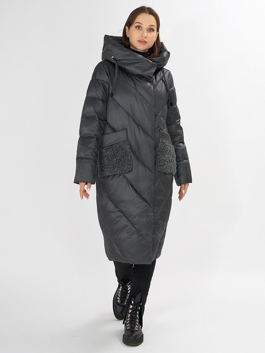 Купить оптом Куртка зимняя болотного цвета 72185Bt в Екатеринбурге