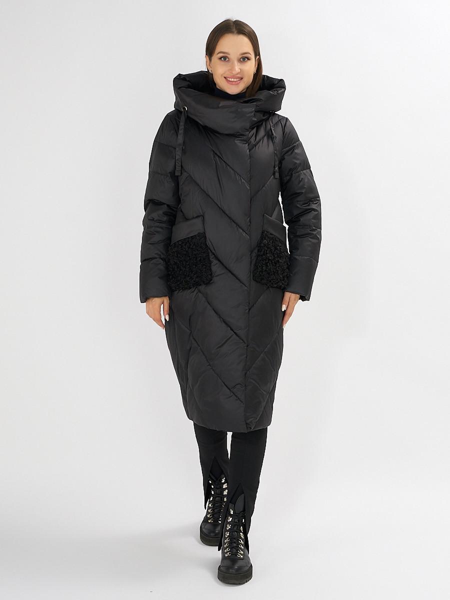 Купить оптом Куртка зимняя черного цвета 72185Ch в Екатеринбурге