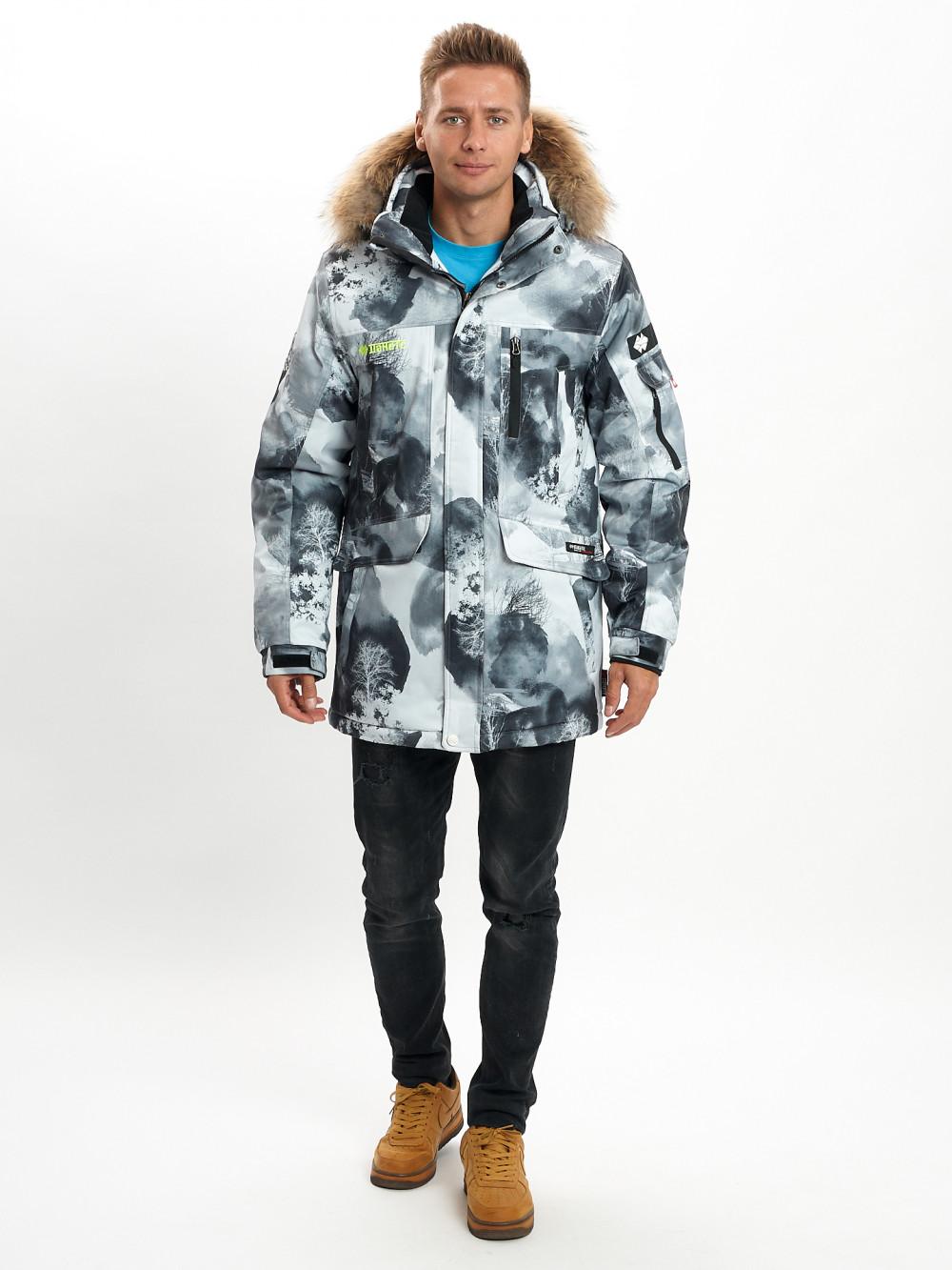 Купить оптом Mолодежная зимняя куртка мужская серого цвета 737Sr в Екатеринбурге
