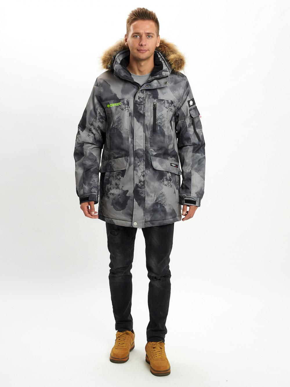 Купить оптом Mолодежная зимняя куртка мужская темно-серого цвета 737TC в Екатеринбурге