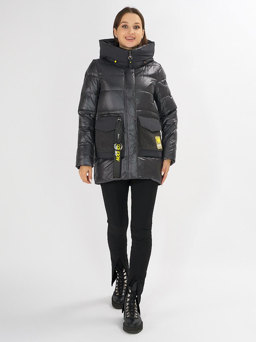 Купить оптом Куртка зимняя темно-серого цвета 7389TC в Екатеринбурге