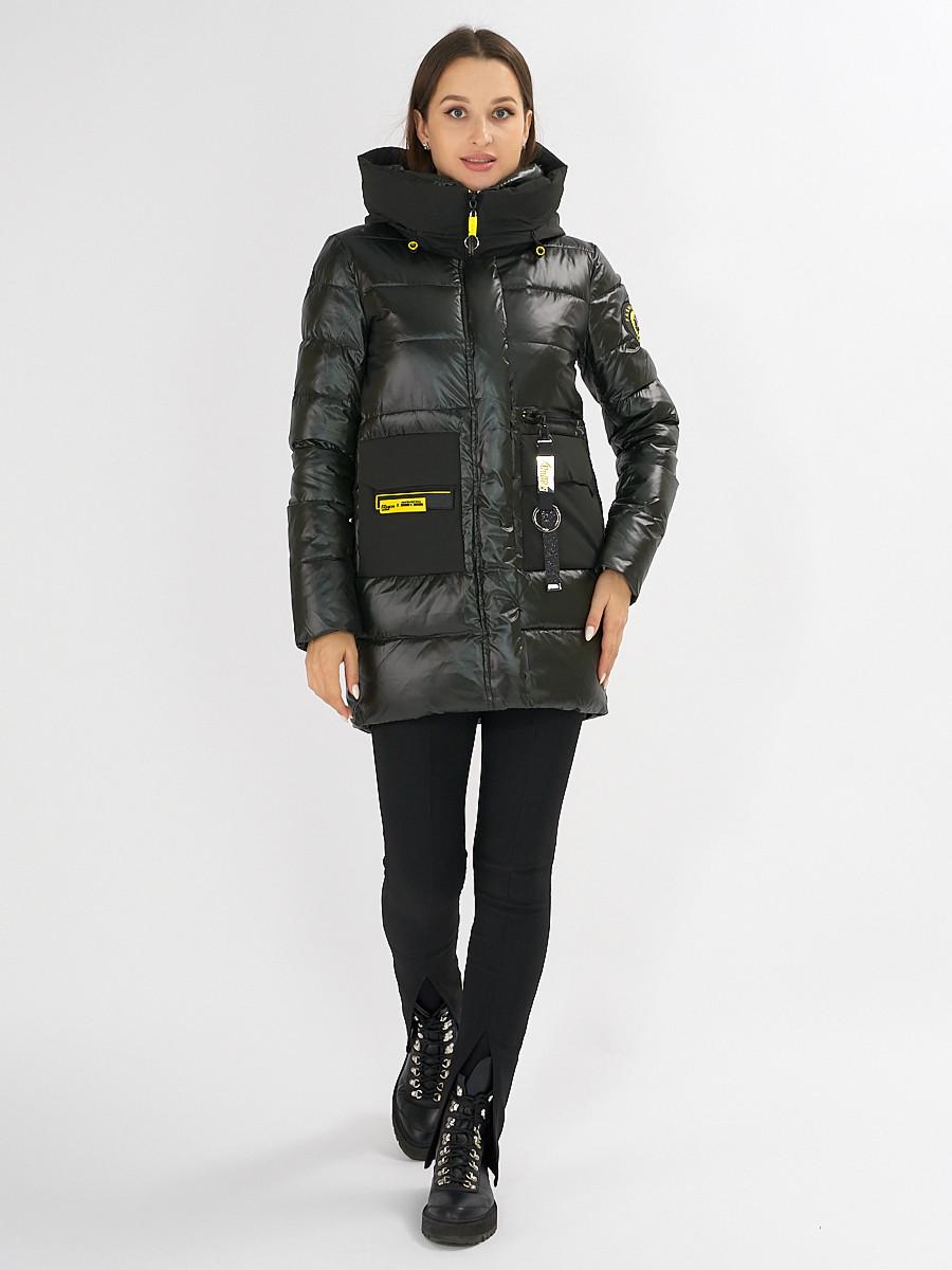 Купить оптом Куртка зимняя болотного цвета 7501Bt в Екатеринбурге