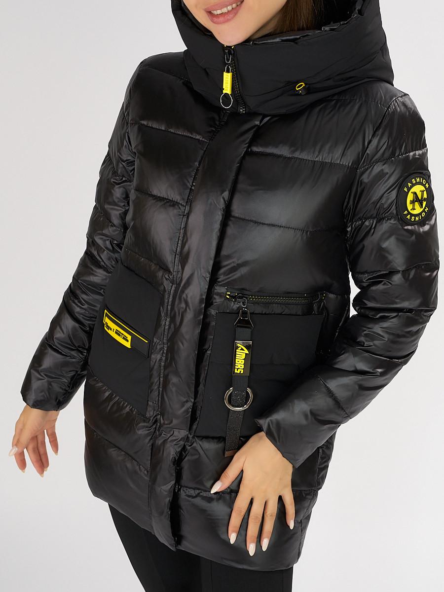 Купить оптом Куртка зимняя черного цвета 7501Ch в Екатеринбурге
