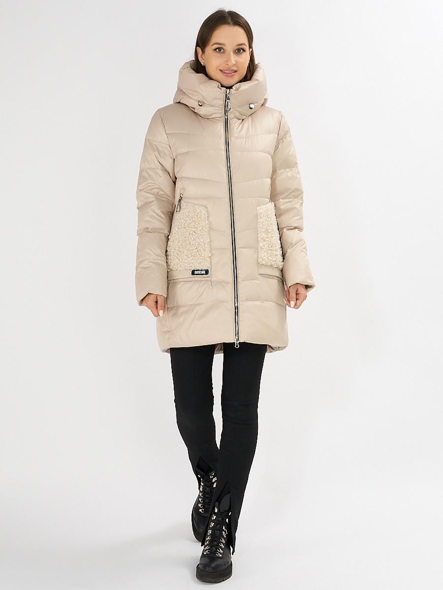 Купить оптом Куртка зимняя big size бежевого цвета 7519B в Екатеринбурге