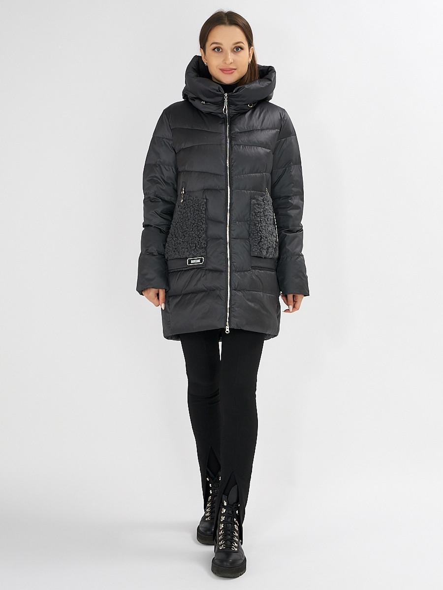 Купить оптом Куртка зимняя big size темно-серого цвета 7519TC в Екатеринбурге