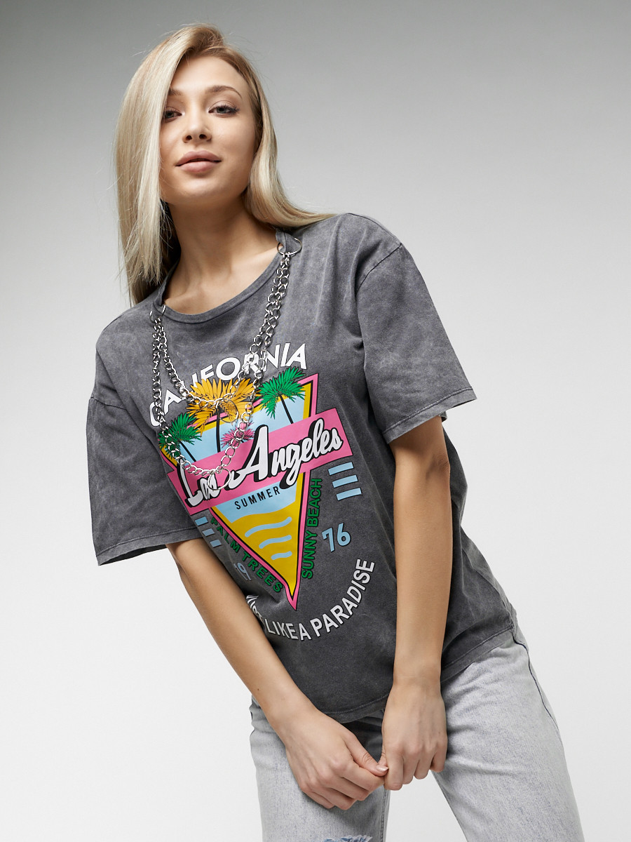 Купить оптом Женские футболки с принтом серого цвета 76015Sr в Екатеринбурге