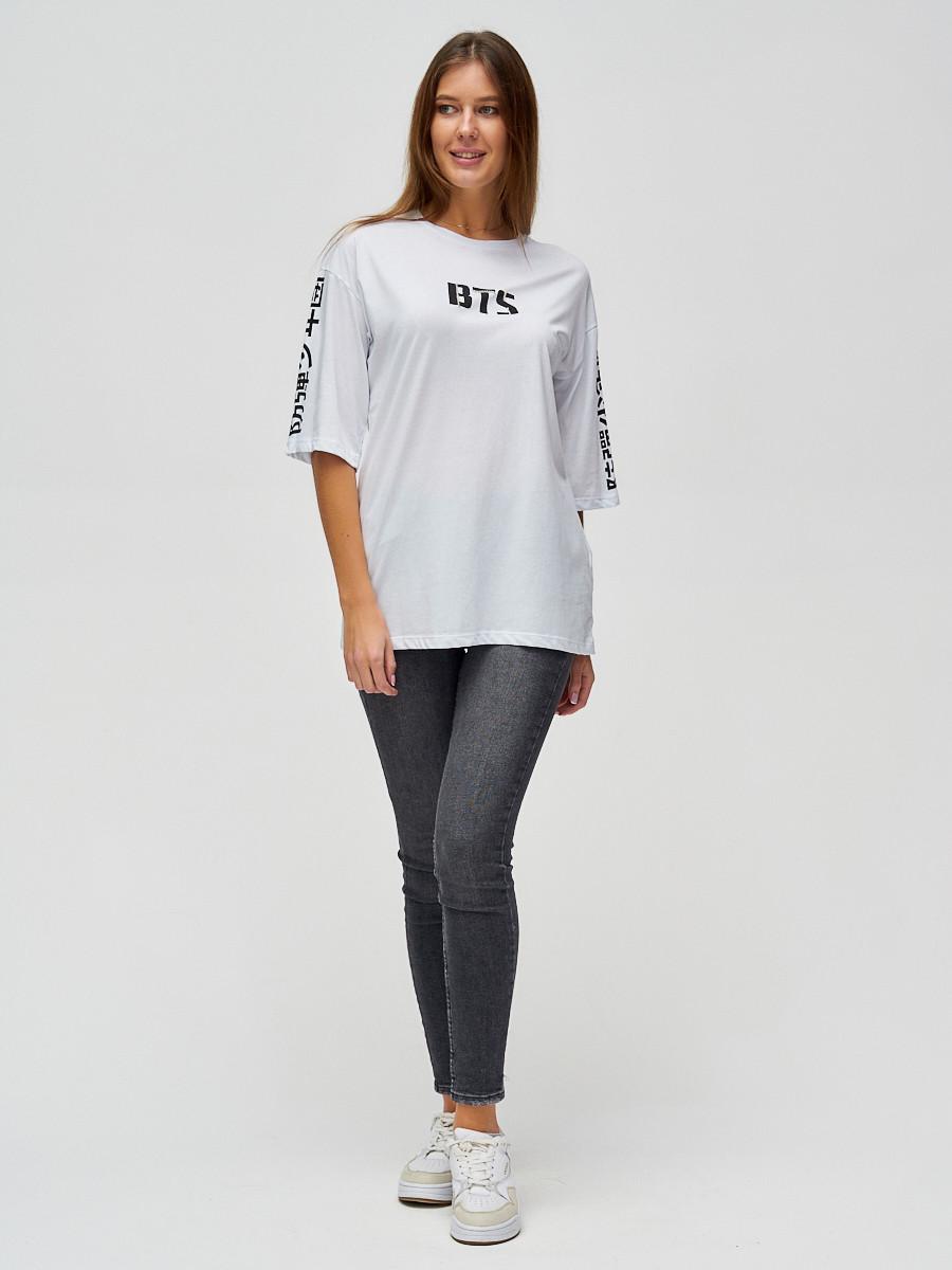 Купить оптом Женские футболки с надписями белого цвета 76017Bl