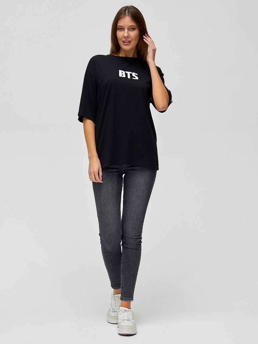 Купить оптом Женские футболки с надписями черного цвета 76017Ch