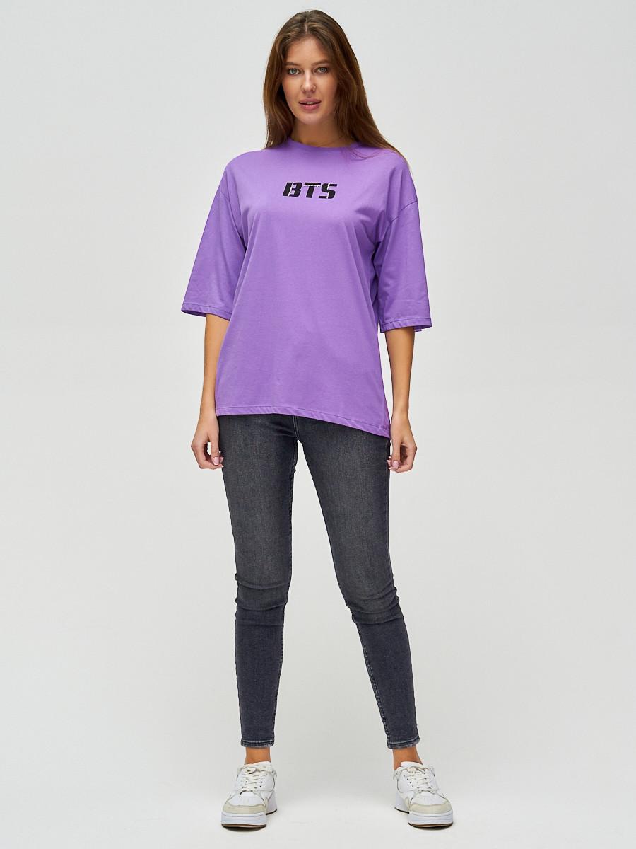 Купить оптом Женские футболки с надписями фиолетового цвета 76017F в Екатеринбурге