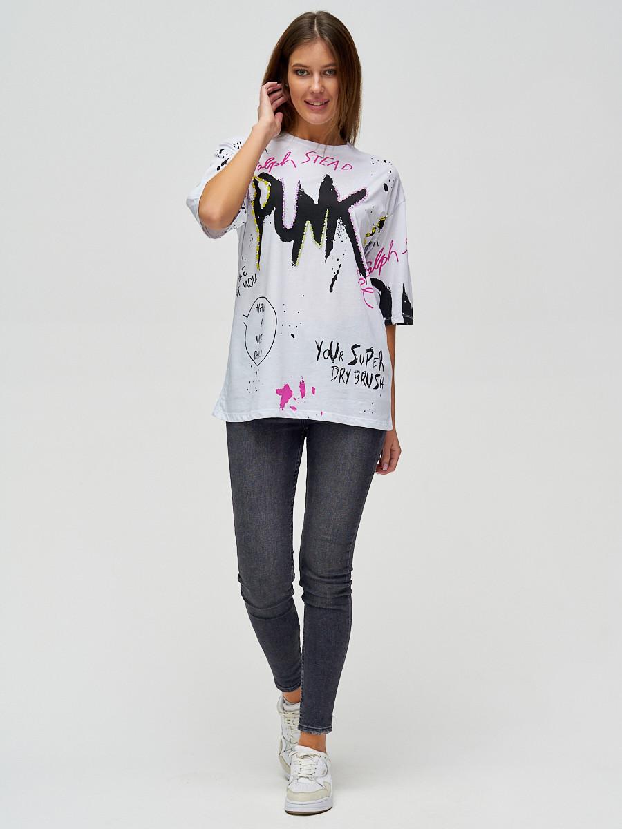 Купить оптом Женские футболки с принтом белого цвета 76024Bl