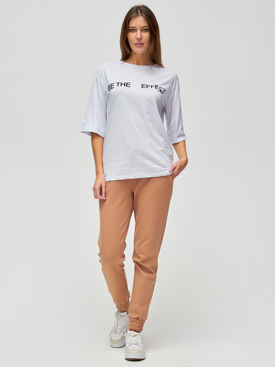 Купить оптом Женские футболки с надписями белого цвета 76025Bl