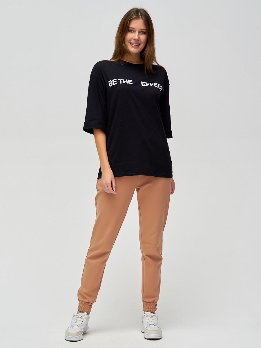 Купить оптом Женские футболки с надписями черного цвета 76025Ch