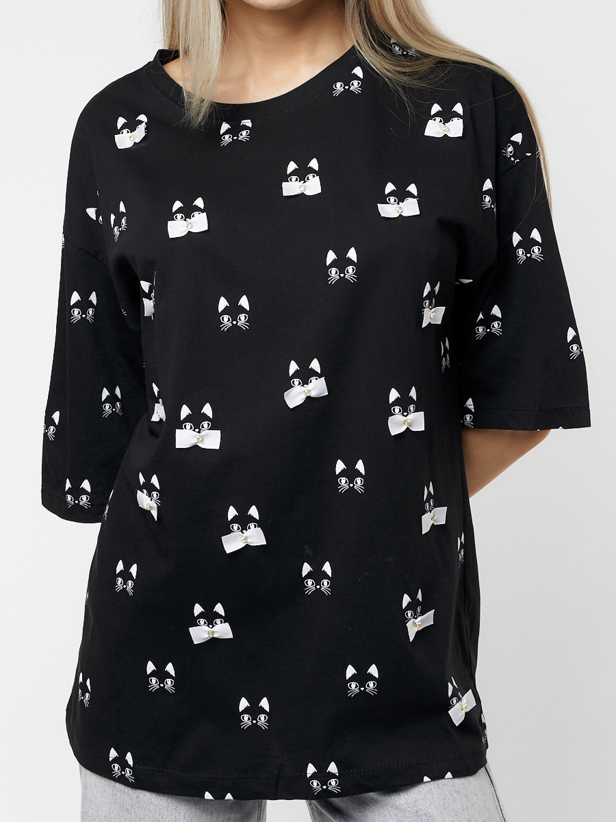 Купить оптом Женские футболки с принтом черного цвета 76032Ch в Екатеринбурге