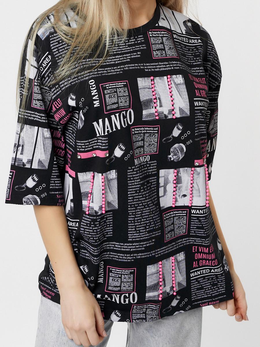 Купить оптом Женские футболки с принтом черного цвета 76091Ch в Екатеринбурге