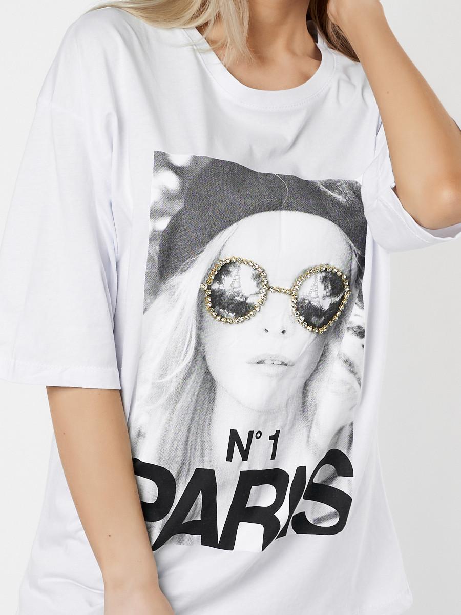 Купить оптом Женские футболки с принтом белого цвета 76110Bl в Екатеринбурге