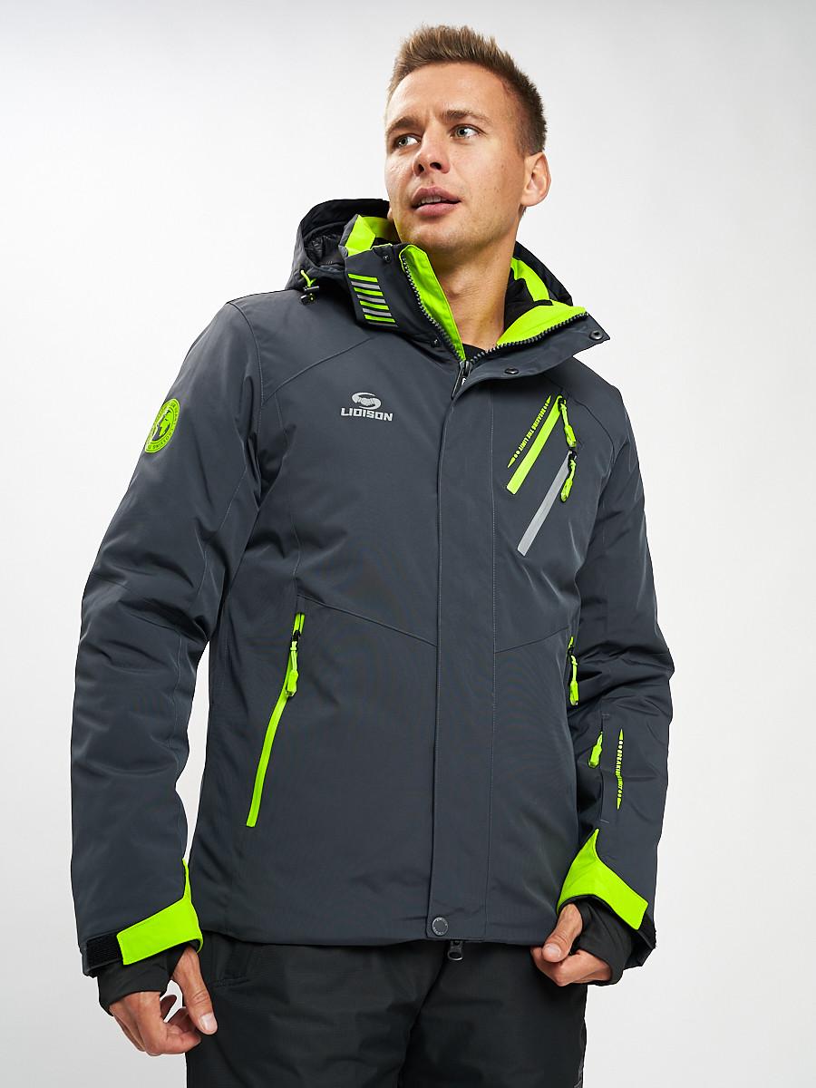Купить оптом Горнолыжная куртка мужская темно-серого цвета 77010TC в Екатеринбурге
