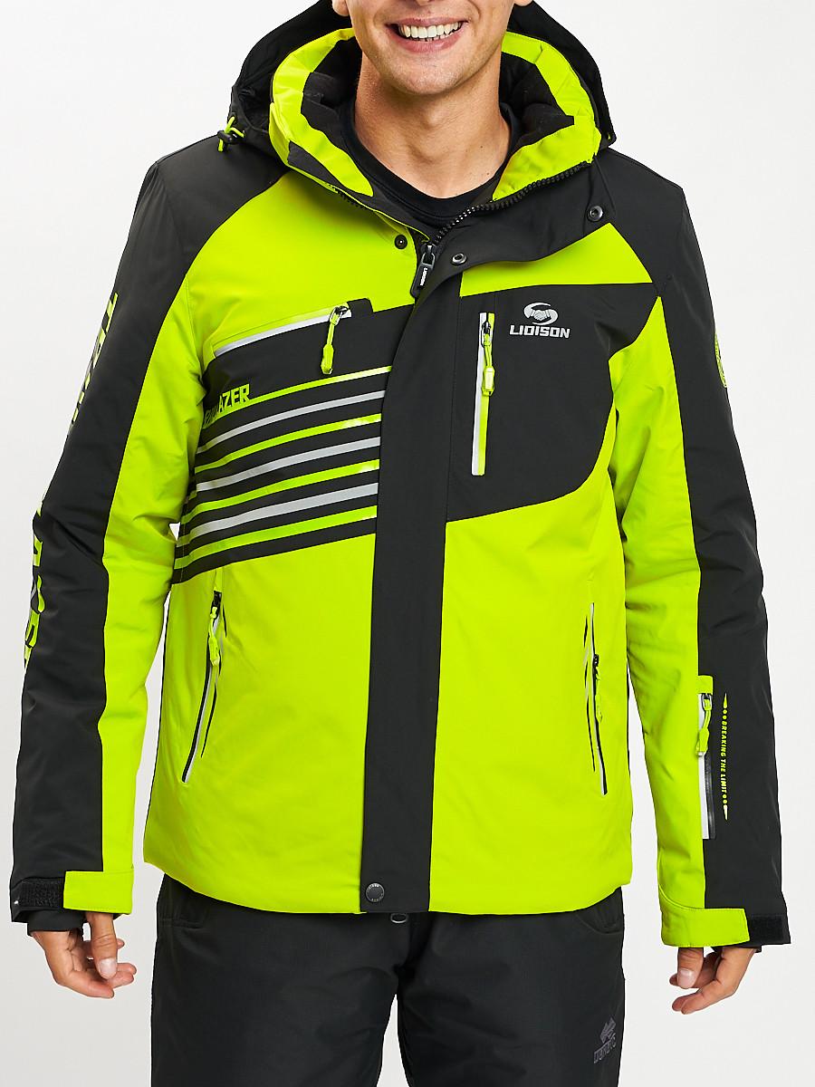 Купить оптом Горнолыжная куртка мужская зеленого цвета 77012Z в Екатеринбурге