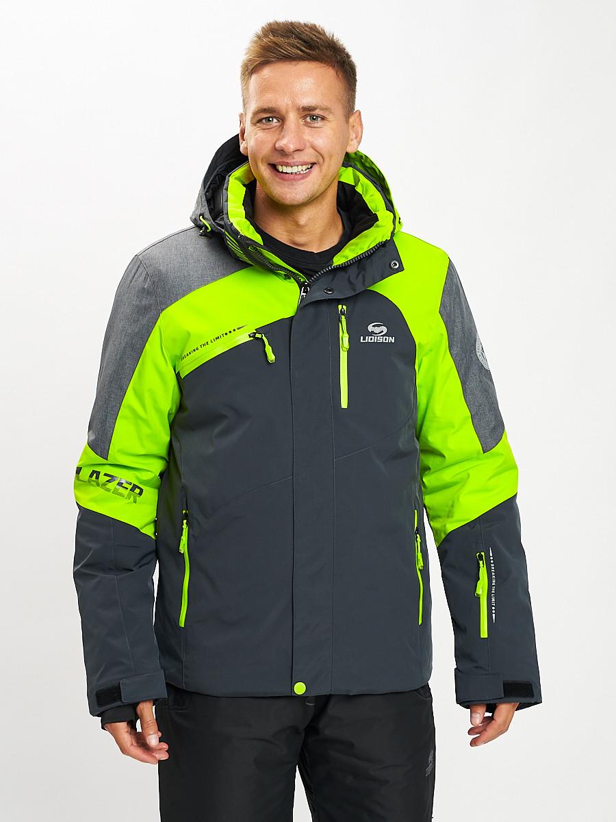 Купить оптом Горнолыжная куртка мужская зеленого цвета 77013Z в Екатеринбурге