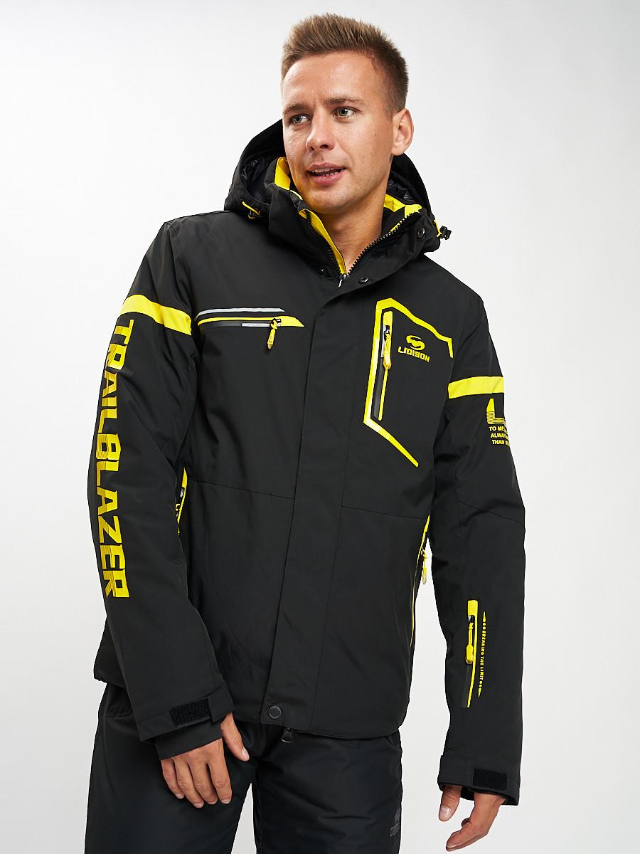 Купить оптом Горнолыжная куртка мужская черного цвета 77014Ch в Екатеринбурге