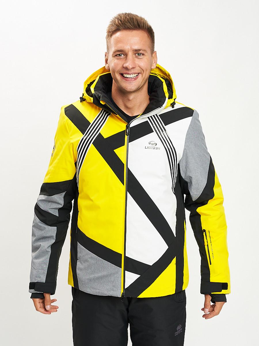 Купить оптом Горнолыжная куртка мужская желтого цвета 77015J в Екатеринбурге
