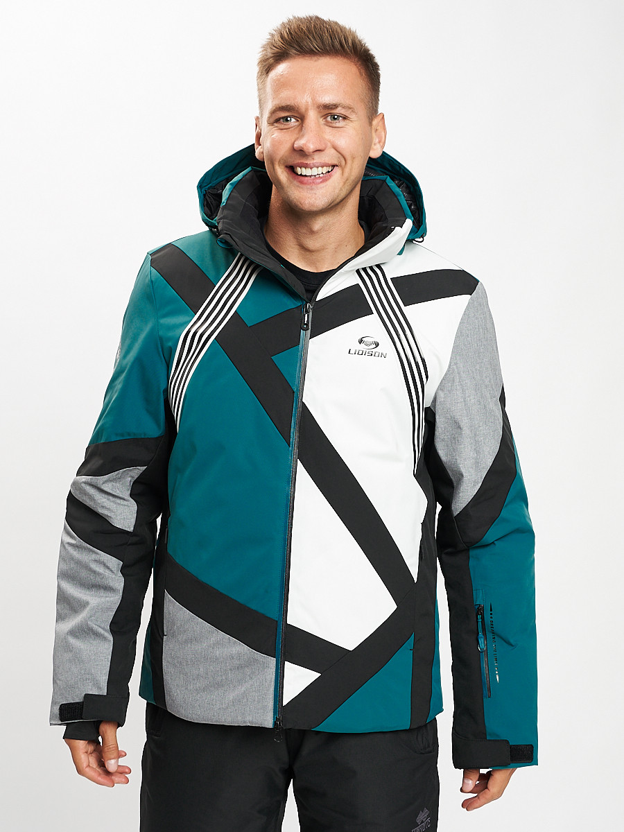 Купить оптом Горнолыжная куртка мужская темно-зеленого цвета 77015TZ в Екатеринбурге