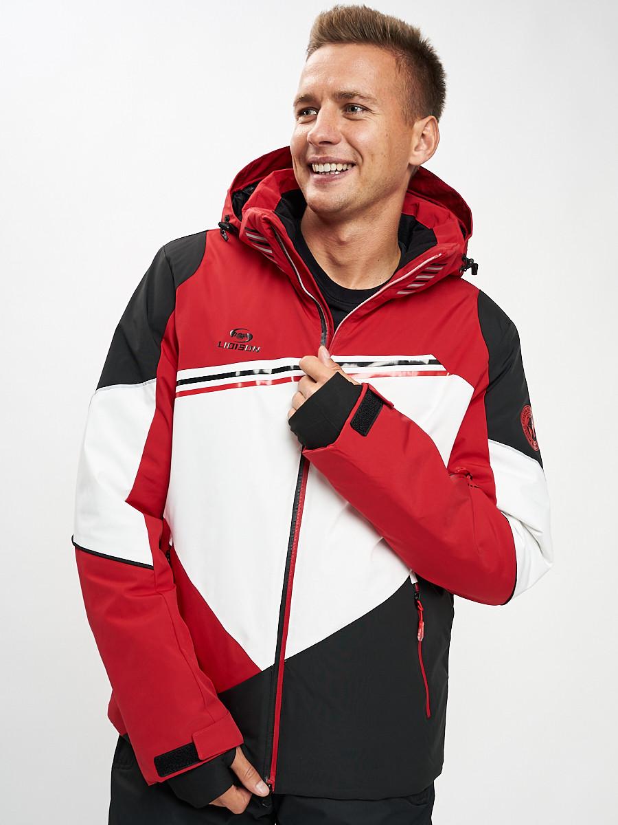 Купить оптом Горнолыжная куртка мужская красного цвета 77016Kr в Екатеринбурге