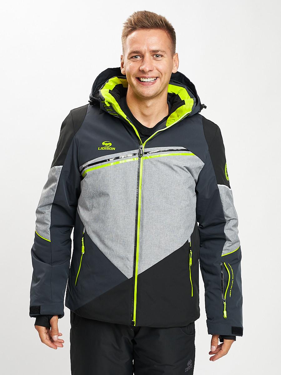 Купить оптом Горнолыжная куртка мужская темно-серого цвета 77016TC в Екатеринбурге
