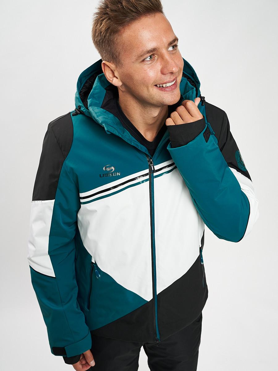 Купить оптом Горнолыжная куртка мужская темно-зеленого цвета 77016TZ в Екатеринбурге