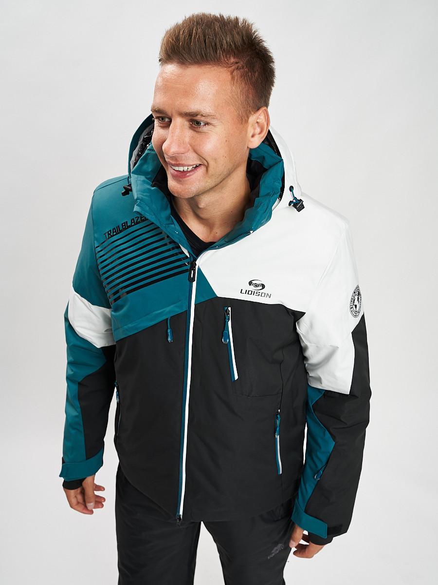 Купить оптом Горнолыжная куртка мужская темно-зеленого цвета 77019TZ в Екатеринбурге