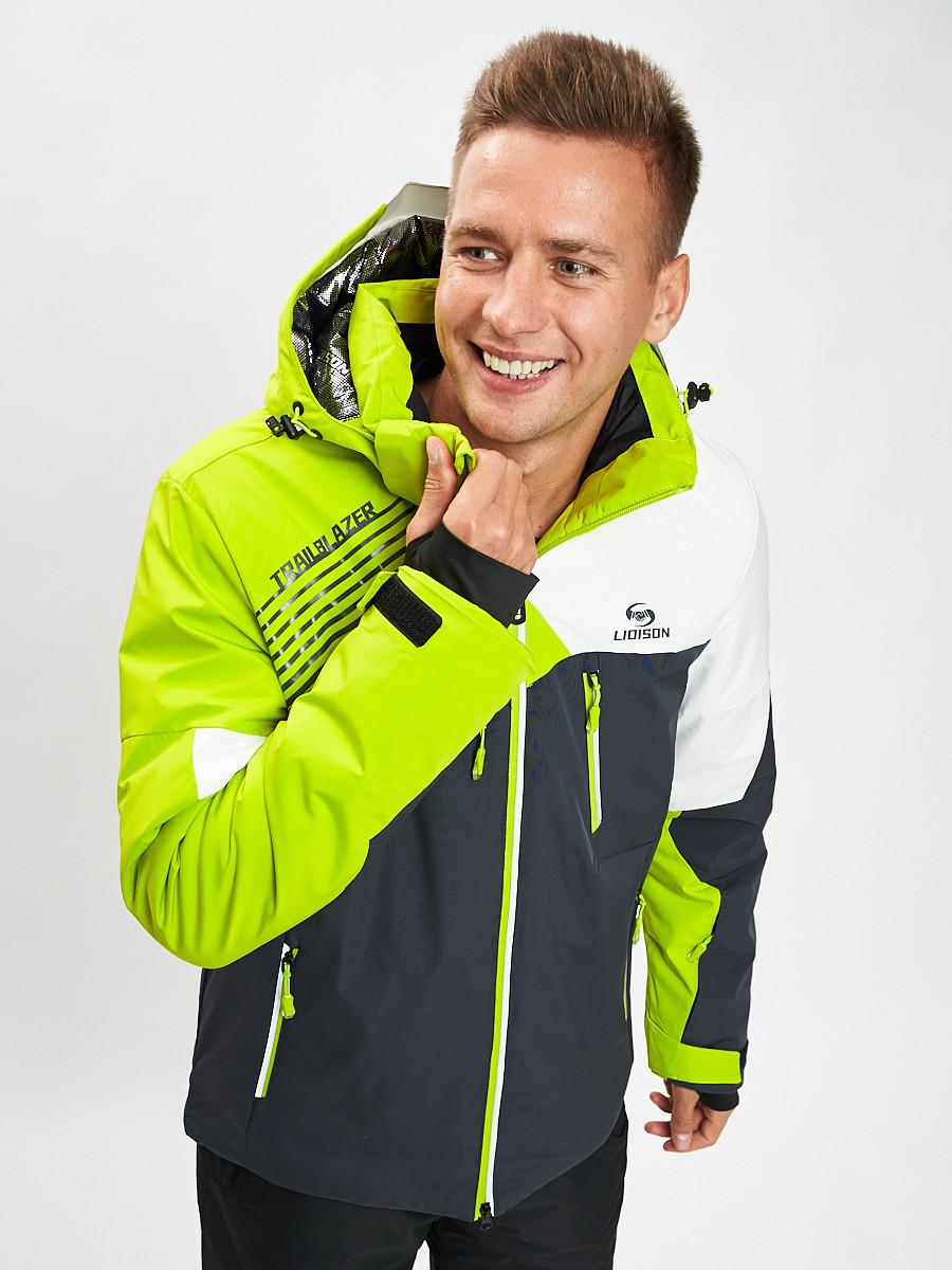 Купить оптом Горнолыжная куртка мужская зеленого цвета 77019Z в Екатеринбурге