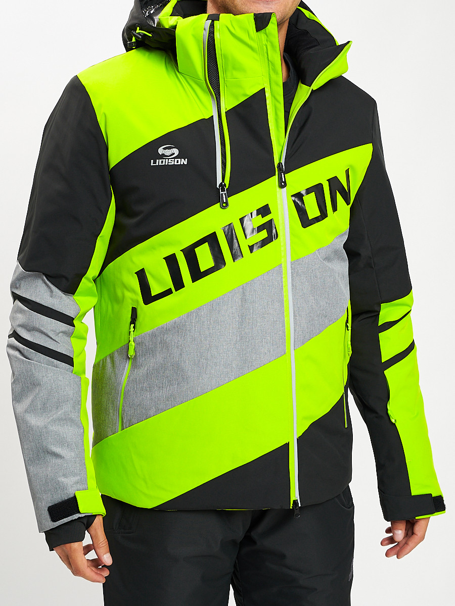 Купить оптом Горнолыжная куртка мужская зеленого цвета 77022Z в Екатеринбурге