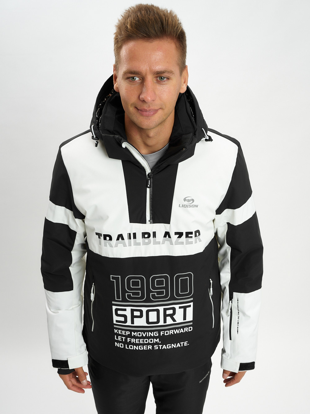 Купить оптом Горнолыжная куртка анорак мужская белого цвета 77024Bl в Екатеринбурге