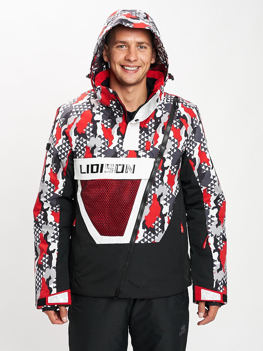 Купить оптом Горнолыжная куртка анорак мужская красного цвета 77027Kr в Екатеринбурге
